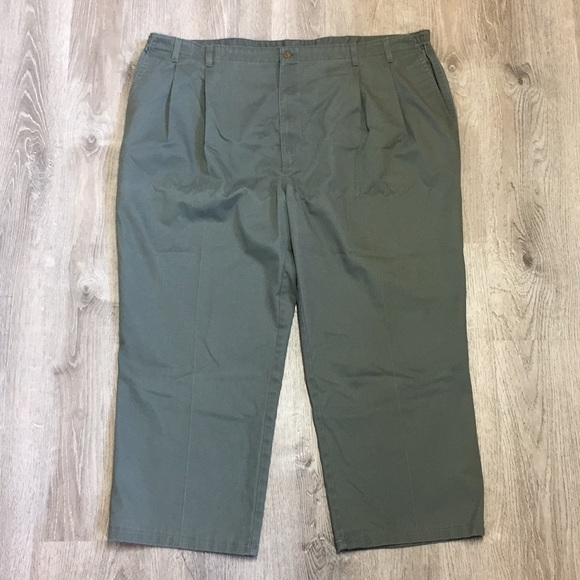 Big Men's Pants Olive Green 52 Pleated Towncraft